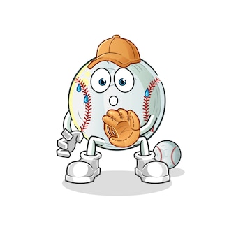 Baseball catcher cartoon illustration