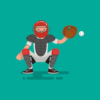 野球キャッチャー選手がボールのイラストをキャッチ