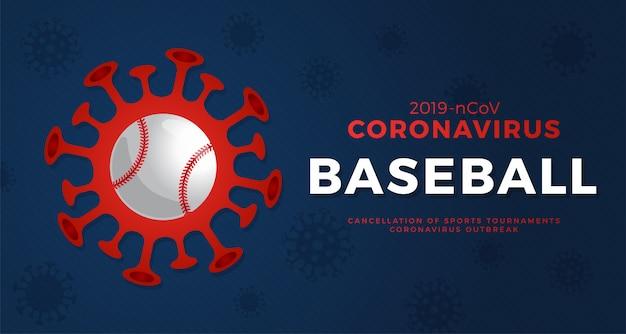 Бейсбол осторожно, коронавирус. остановить вспышку. опасность коронавируса и риска для здоровья населения и вспышки гриппа. отмена концепции спортивных мероприятий и матчей