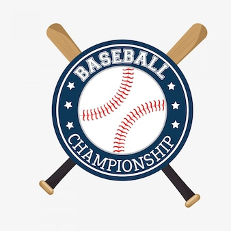 Baseball championship badge bats ball