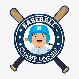 Baseball championship badge player with bats