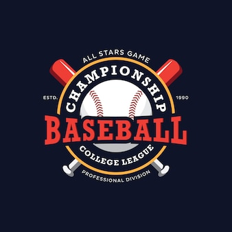 Baseball championship college league logo design template