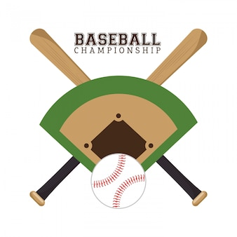 Плакат чемпионата по бейсболу полевой мяч и летучие мыши