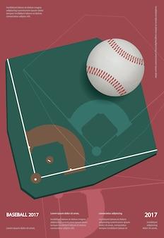 野球選手権スポーツポスターデザインのベクトル図