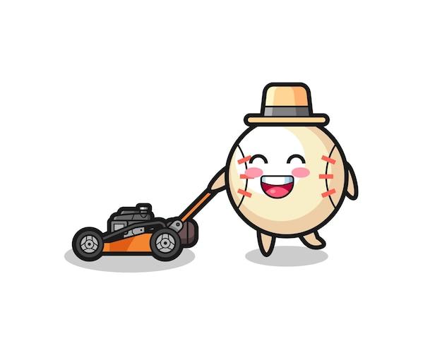 Baseball character using lawn mower
