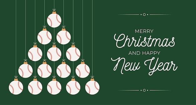야구 크리스마스와 새 해 인사말 카드 값싼 물건 나무입니다. 크리스마스와 새해 축하를 위해 검은 배경에 야구공으로 만든 창의적인 크리스마스 트리. 스포츠 인사말 카드
