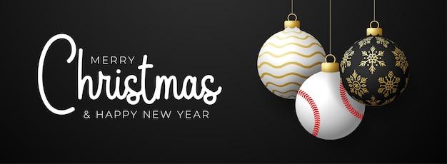 야구 크리스마스 카드입니다. 메리 크리스마스 스포츠 인사말 카드입니다. 검은색 가로 배경에 크리스마스 공과 황금 값싼 물건으로 실 야구공에 매달아 보세요. 스포츠 벡터 일러스트 레이 션.