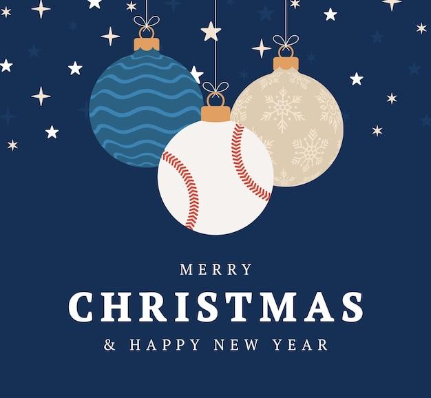 야구 크리스마스 인사말 카드입니다. 기쁜 성 탄과 새 해 복 많이 받으세요 평면 만화 스포츠 배너입니다. 배경에 크리스마스 공으로 야구 공입니다. 벡터 일러스트 레이 션.