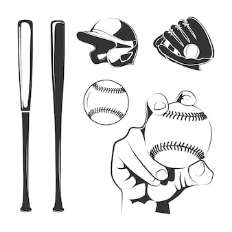 Baseball club black elements set