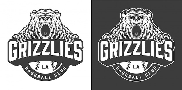 野球クラブの猛烈なクマのマスコットロゴ