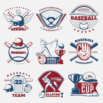 Baseball colored emblems of teams and tournaments with trophy sports field and outfit isolated