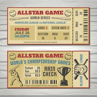 Baseball competitions tickets with player sports outfit and trophy barcode