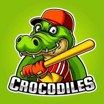Baseball crocodile mascot e sport logo design