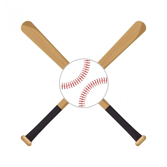 Baseball crossed bats ball icons