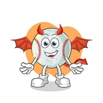 翼のある野球の悪魔のキャラクターイラスト