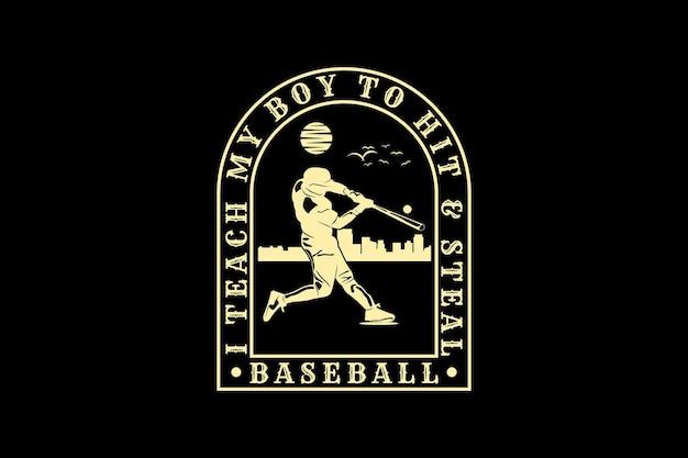 Бейсбол, дизайн силуэт в стиле ретро
