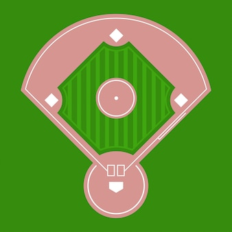 Baseball diamond field top view.