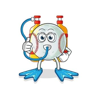 Baseball divers mascot illustration