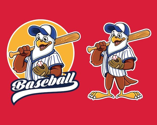 Baseball eagle mascot player.