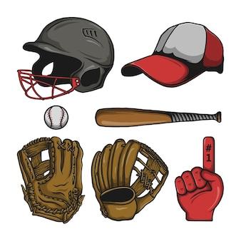 Baseball and equipment elements vector