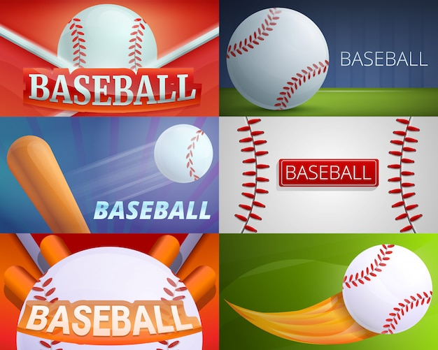 Baseball equipment illustration set on cartoon style