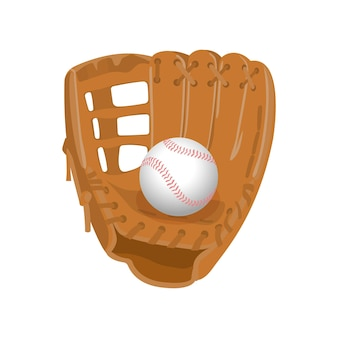 野球用具。分離されたライトブラウンのレザーグローブ、リアルなスタイルの白いボール。