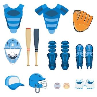 야구 장비 세트입니다. 방망이, 공, 소프트볼 장갑, 타격 헬멧, 포수 장비 및 다리 보호대. 평면 벡터 만화 일러스트 레이 션. 흰색 배경에 고립 된 개체입니다.