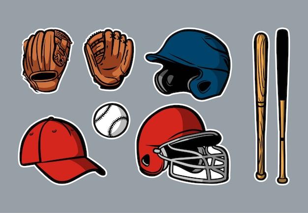 Baseball equipment set clipart