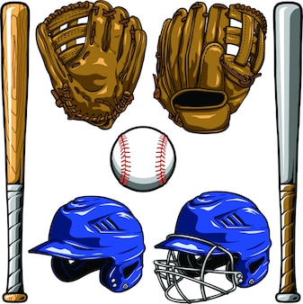 Baseball equipment set Premium Vector