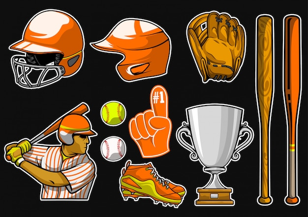 Baseball equipment stock vector set
