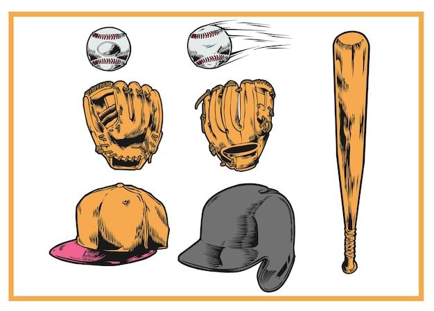 Бейсбольное оборудование инструменты старинные иллюстрации