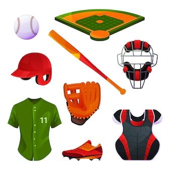 Baseball equipment and uniform, catcher's set, protective gear