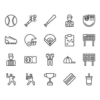 Baseball equipments and activities icon set
