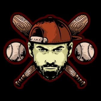 帽子とスティックを持つ野球顔プレーヤー