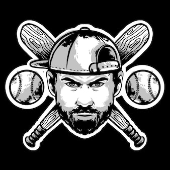Baseball face player with hat and stick