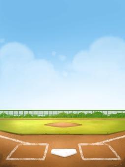 Baseball field for background, children's illustration styles.