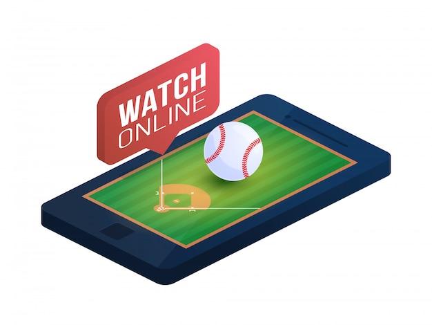 전화 화면 온라인 개념 아이소 메트릭 그림에 야구장. 온라인 야구 아이소 메트릭 개념입니다.