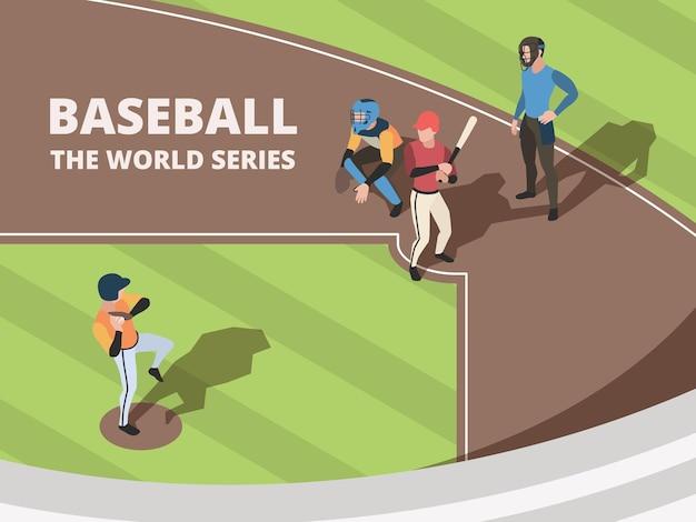 Бейсбольное поле. игроки спортивной команды, играющие на бейсбольном стадионе, персонажи в действии, представляют векторных людей