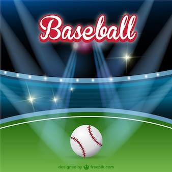 Baseball field with spotlights