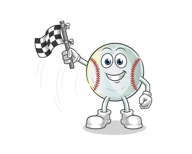 Baseball finish flag holder cartoon illustration