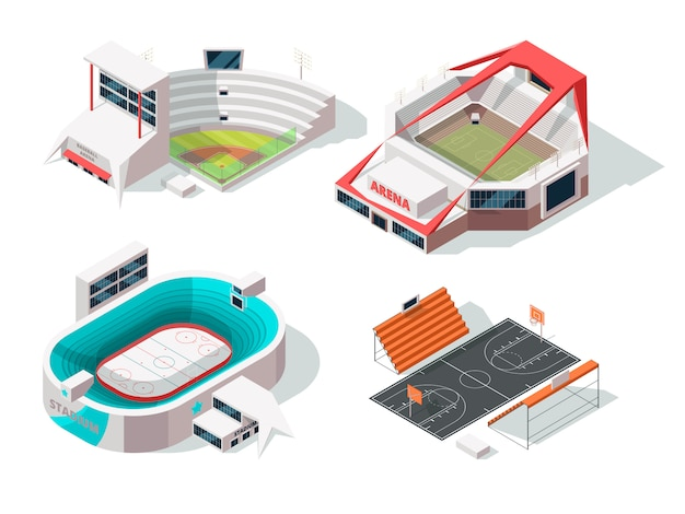 Baseball, football, hockey and basketball stadiums exterior. buildings in isometric style