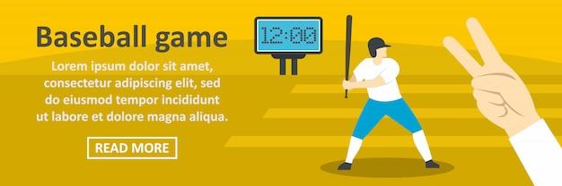 Baseball game banner template horizontal concept