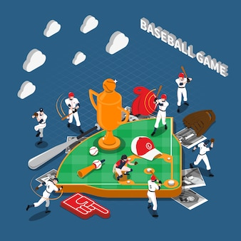 Baseball game isometric composition