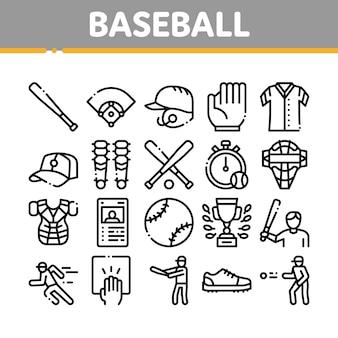 Baseball game tools collection icons set