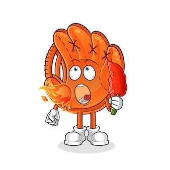 野球のグローブは熱いチリマスコットを食べる