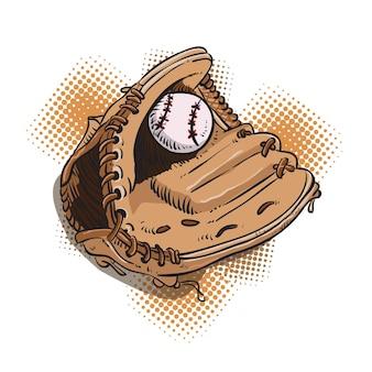 야구 글러브 풀 컬러 핸드 드로잉