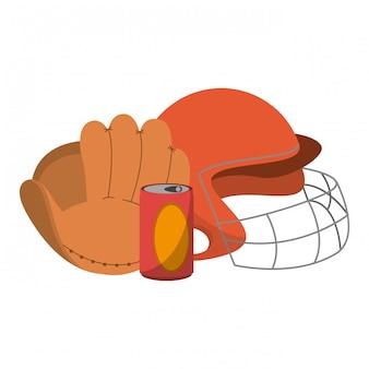 Baseball glove helmet and soda can