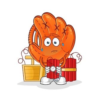Бейсбольная перчатка с динамитным персонажем