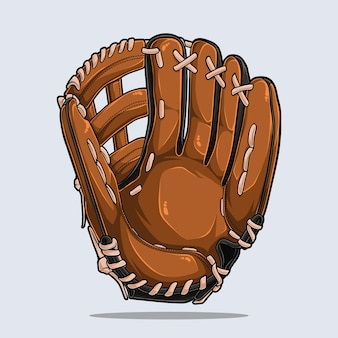 Baseball glove isolated on white background, baseball equipment, illustration with shadows and lights