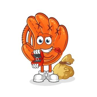 Бейсбольная перчатка предлагает и держит иллюстрацию кольца